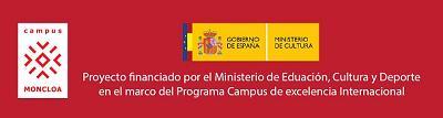 Logotipo de Campus Moncloa y del Ministerio con leyenda de financiación, sobre fondo rojo
