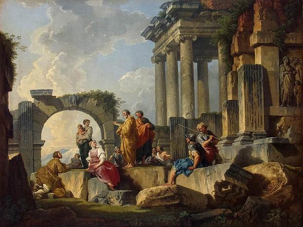 Giovanni Paolo Pannini. Profecía de la Sibila en las ruinas romanas, 1745-1750. Museo del Hermitage. San Petersburgo