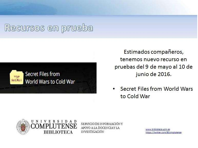 Nuevo recurso en pruebas: SECRET FILES FROM WORLD WARS TO COLD WAR (hasta el 10 de junio)