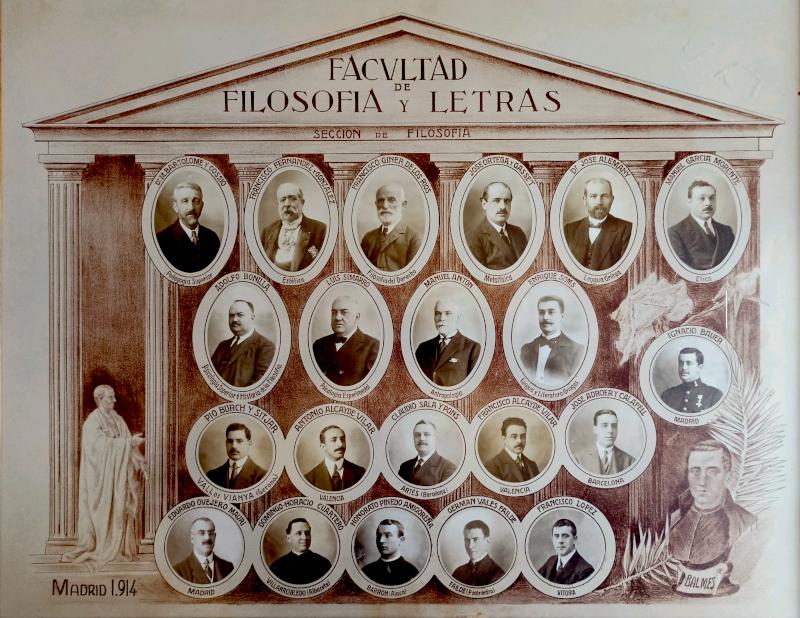 Orla con el profesorado de la Facultad de Filosofía y Letras, Sección de Filosofía, de la Universidad Central. Año 1914