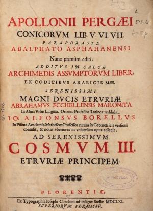 14- Apolonio de Pérgamo. Conicorum Libri IV, 1661