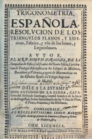 16- José Zaragoza. Trigonometría española, 1672